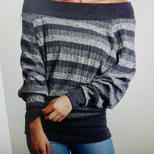 Black Stripe Off the Shoulder Cozy Sweater